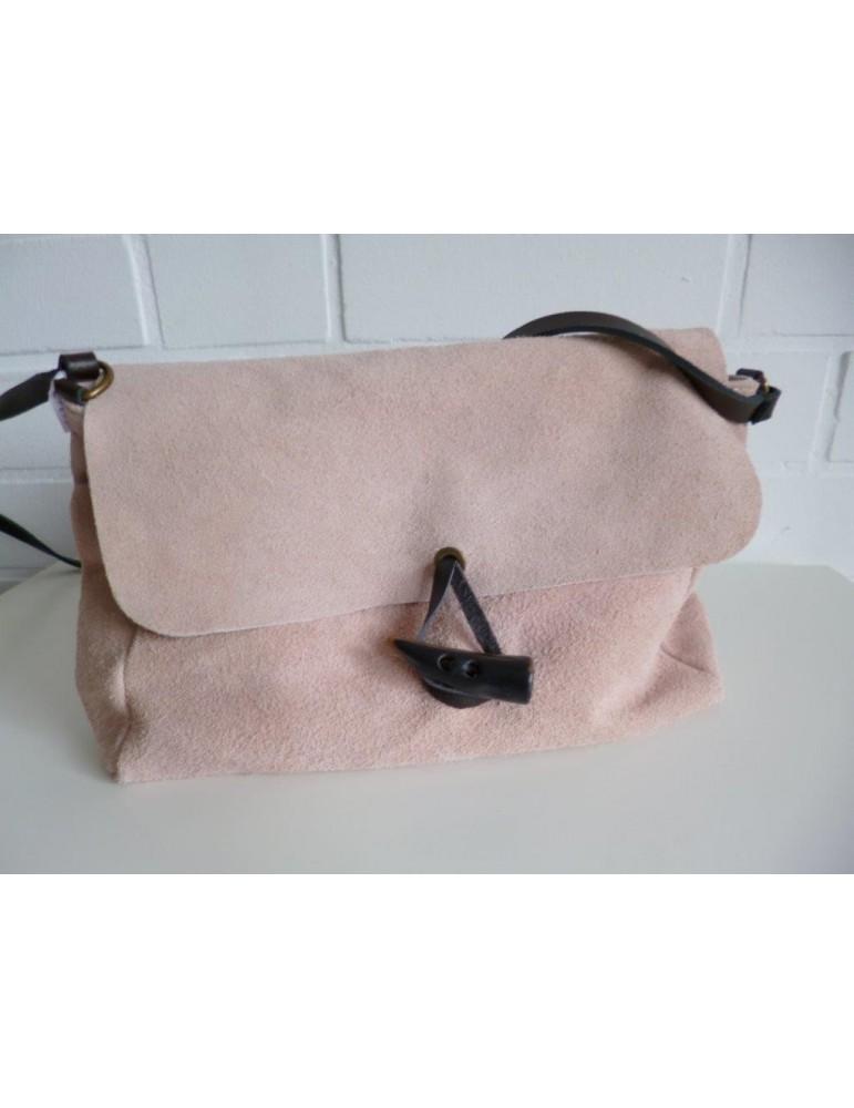 Damen Clutch Tasche Schultertasche echtes Leder rose rosa braun