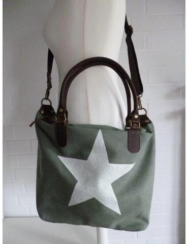 Tasche Schultertasche Canvas Made in Italy grün weiß Stern Ibiza Style