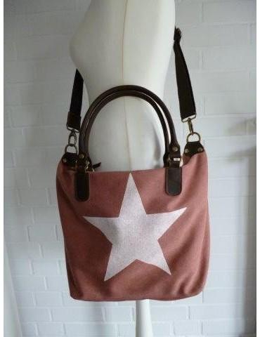 Tasche Schultertasche Canvas Made in Italy rostbraun weiß Stern Ibiza Style