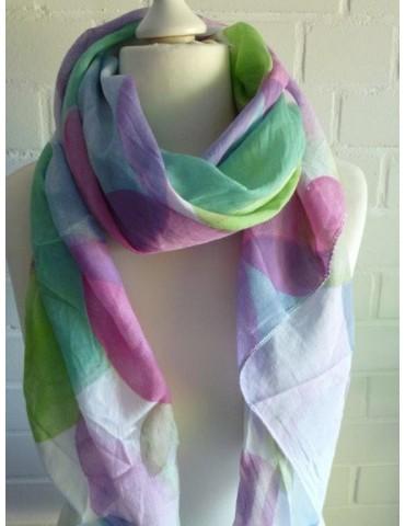 Tuch Loop Made in Italy Seide Baumwolle weiß lila rose grün bunt Punkte