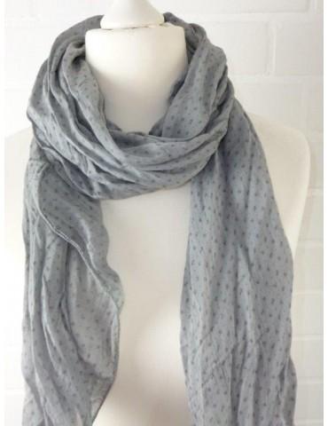 Schal Tuch Loop Made in Italy Seide Baumwolle hellgrau grau Blumen