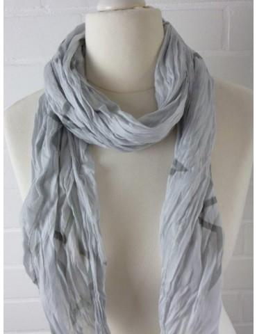 Schal Tuch Loop Made in Italy Seide Baumwolle hellgrau grau offene Sterne