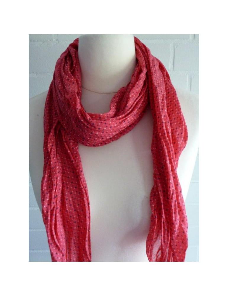 Schal Tuch Loop Made in Italy Seide Baumwolle rot lau weiß Muster