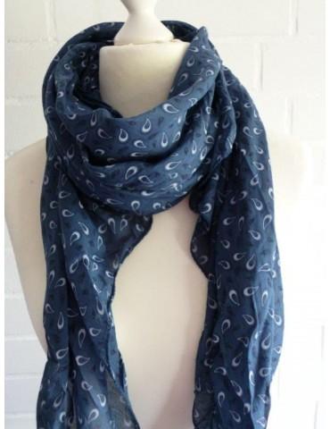 Schal Tuch Loop Made in Italy Seide Baumwolle blau dunkelblau weiß Paisly