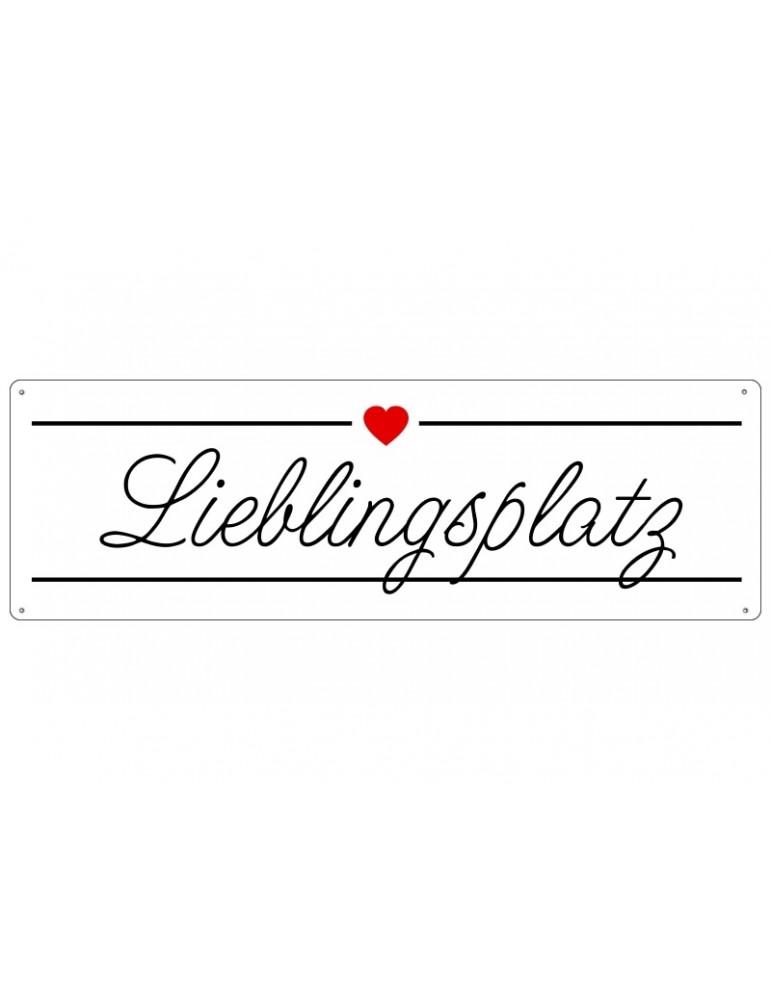 Interluxe Dekoschild Metall Schild Lieblingsplatz Made in Germany Shabby Vintage
