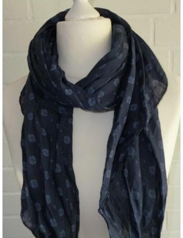 Schal Tuch Loop Made in Italy Seide Baumwolle dunkelblau bleu Muster