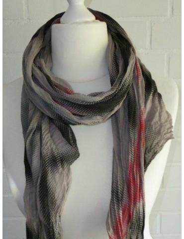 Schal Tuch Loop Made in Italy Seide Baumwolle beige schwarz rot Muster