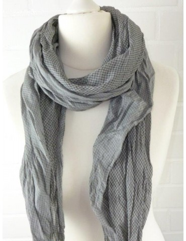 Schal Tuch Loop Made in Italy Seide Baumwolle grau schwarz Muster