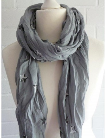 Schal Tuch Loop Made in Italy Seide Baumwolle grau anthrazit schwarz weiß doppelte Stern