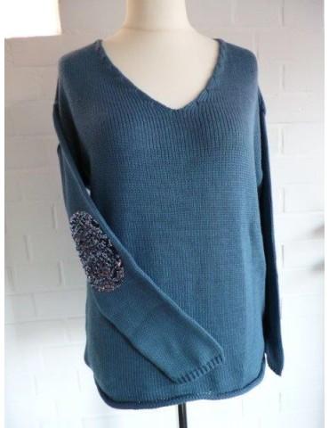 Zwillingsherz Grobstrick Pullover mit Baumwolle Gr. 1 36 38 blau Pailetten Patch