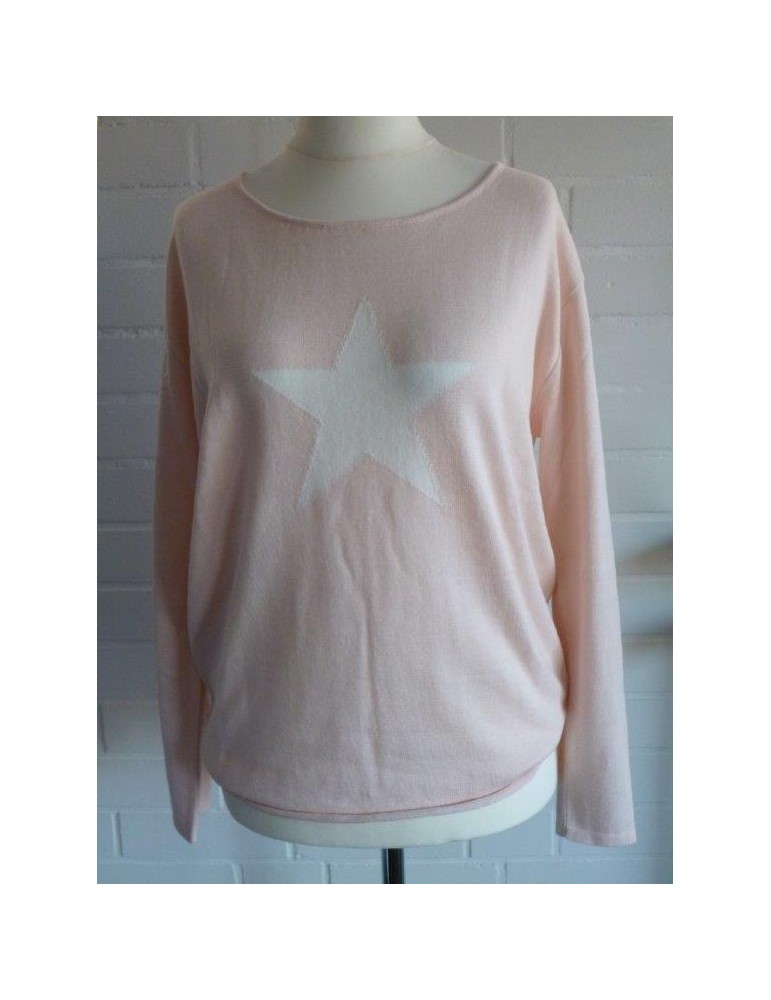 Zwillingsherz Oversize Pullover Gr. 1 38 40 mit Baumwolle lachs weiß Stern