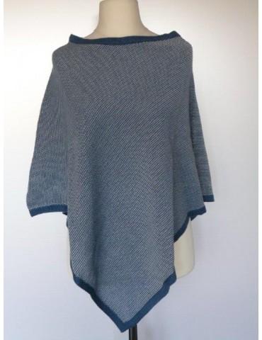Zwillingsherz Poncho Cape Stola blau creme meliert mit Baumwolle