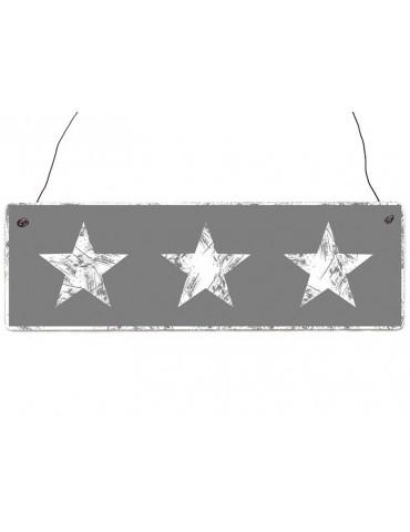 Interluxe Dekoschild Holzschild grau weiß Sterne Shabby Vintage