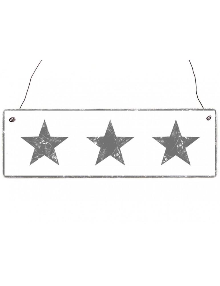 Interluxe Dekoschild Holzschild weiß grau Sterne Shabby Vintage
