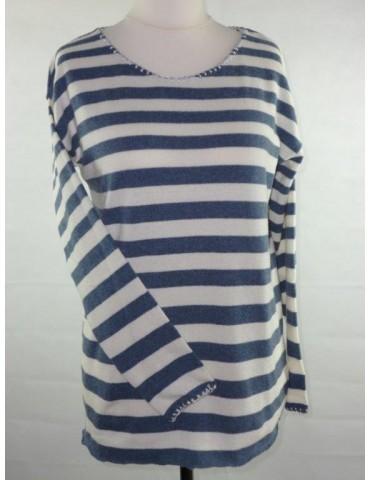 Zwillingsherz Strick Pullover jeansblau blau creme Lurex Streifen Gr. S 36 mit Kaschmir Ricarda