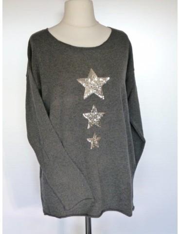 Zwillingsherz Strick Pullover anthrazit grau Gr. 2 40 42 Pailetten Sterne mit Kaschmir