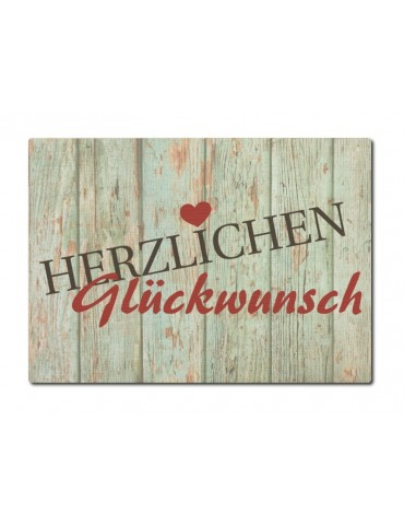 Interluxe Holz Postkarte Herzlichen Glückwunsch Made in Germany Handmade Shabby Vintage