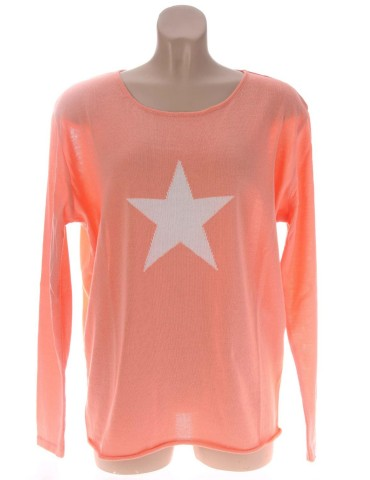 Zwillingsherz Oversize Pullover Gr. 1 38 40 mit Baumwolle orange weiß Stern
