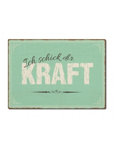 Interluxe Holz Postkarte Ich schick Dir Kraft Made in Germany Handmade Shabby Vintage