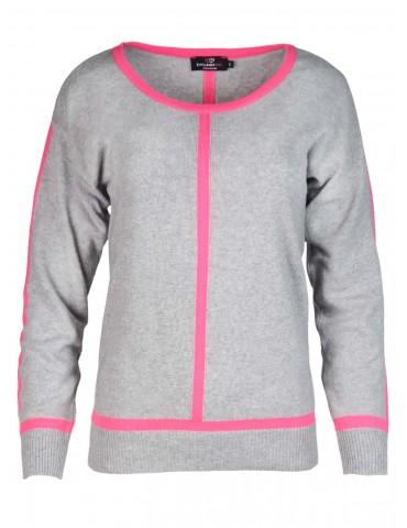 Zwillingsherz Strick Pullover hellgrau grau neonpink Streifen Gr. M 38 40 mit Kaschmir Nele