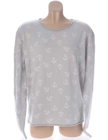 Zwillingsherz Oversize Pullover hellgrau grau weiß Anker Gr. 2 38 40 mit Baumwolle Nala
