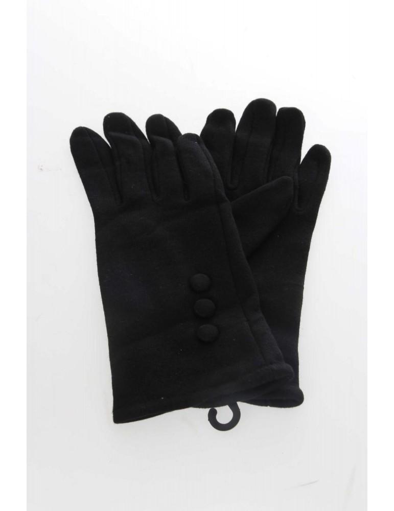 Fingerhandschuhe Handschuhe schwarz black Knöpfe Baumwolle Viskose