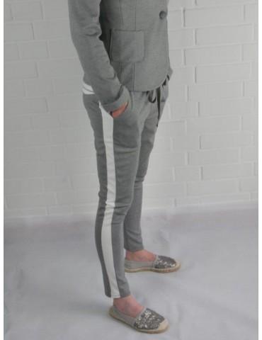 Esvivid Coole Sportliche Jersey Hose Chino hellgrau grau weiß Streifen