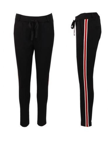 ESViViD Coole Sportliche Jersey Hose Chino schwarz weiß rot Streifen 9051RW
