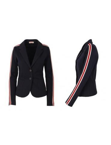 Esvivid Bequemer Sportlicher Jersey Blazer Buisness tailliert dunkelblau rot weiß Streifen