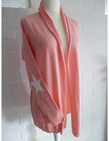 Zwillingsherz Strick Jacke mit Kaschmir und Seide Gr. 2 38 40 lachs- orange weiß Stern Patches