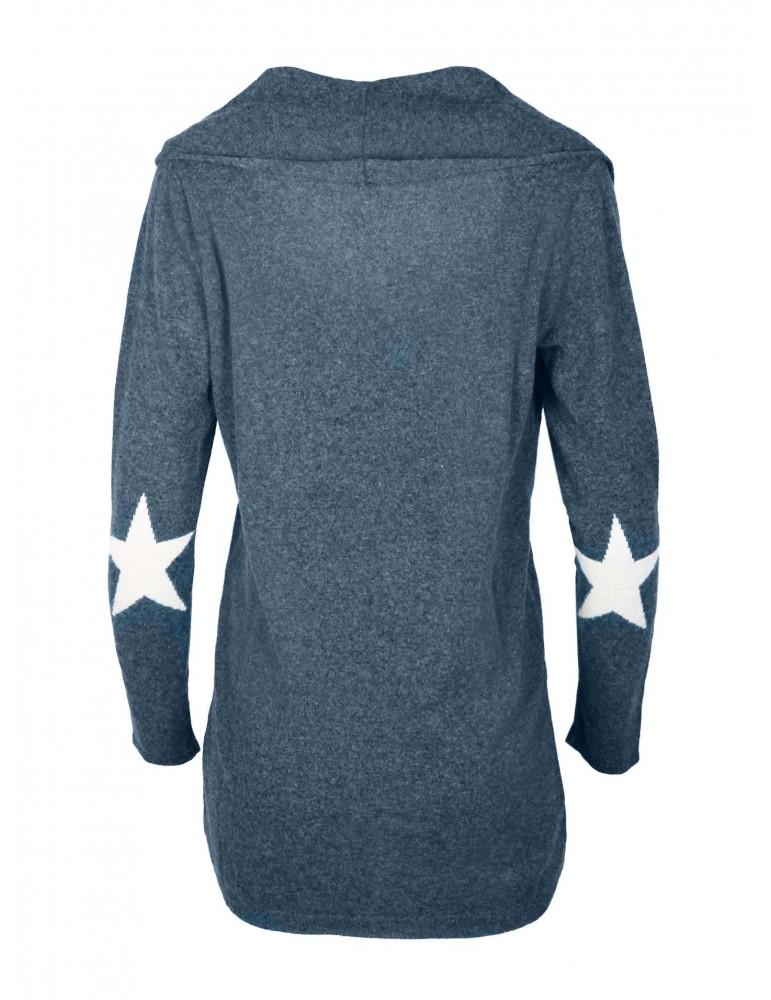 Zwillingsherz Strick Jacke Lucky Star mit Kaschmir dunkelblau weiß Stern Patches
