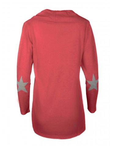 Zwillingsherz Strick Jacke Lucky Star mit Kaschmir koralle orange weiß Gr. 2 M 38 40 Stern Patches