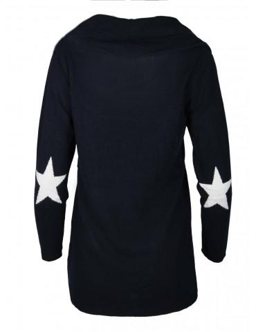 Strick Jacke Zwillingsherz mit Baumwolle dunkelblau weiß Stern Patches