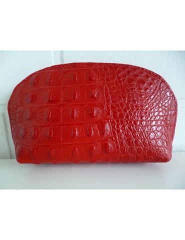 Kosmetiktasche Portemonnaie feuerrot rot Krokolook echtes Leder Made in Italy