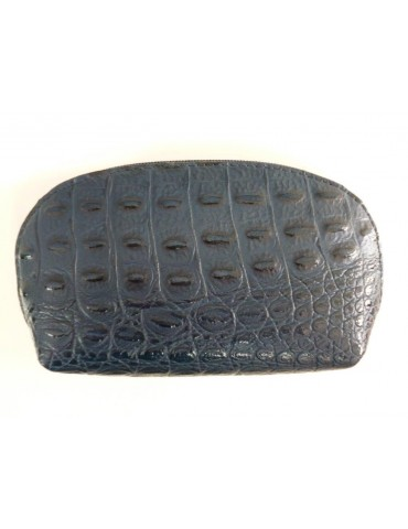 Kosmetiktasche Portemonnaie dunkelblau blau Krokolook echtes Leder Made in Italy