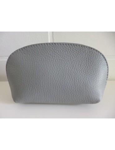 Kosmetiktasche Portemonnaie hellgrau grau echtes Leder Made in Italy