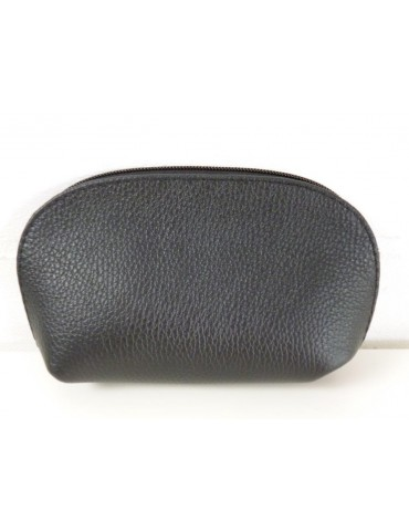 Kosmetiktasche Portemonnaie schwarz black echtes Leder Made in Italy