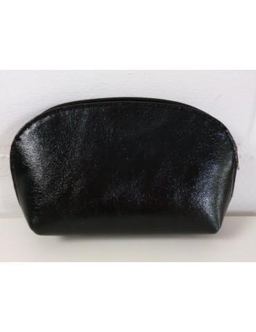 Kosmetiktasche Portemonnaie schwarz black metallic echtes Leder Made in Italy