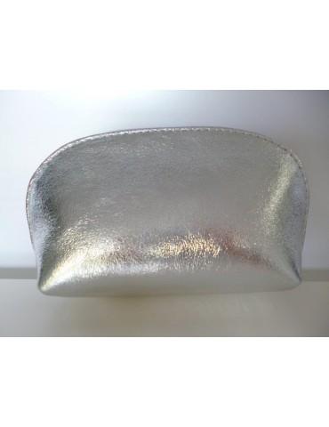 Kosmetiktasche Portemonnaie silber silver metallic echtes Leder Made in Italy