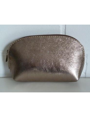 Kosmetiktasche Portemonnaie bronze metallic echtes Leder Made in Italy