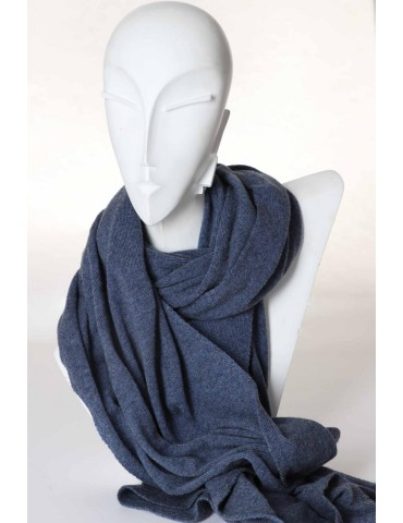 Zwillingsherz Winterschal Damen Herren Schal Medina jeansblau blau mit Kaschmir