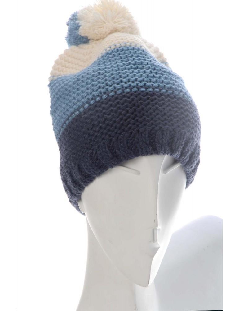 Zwillingsherz Mütze Beanie blau jeansblau creme Bommel Streifen mit Wolle und Fleece