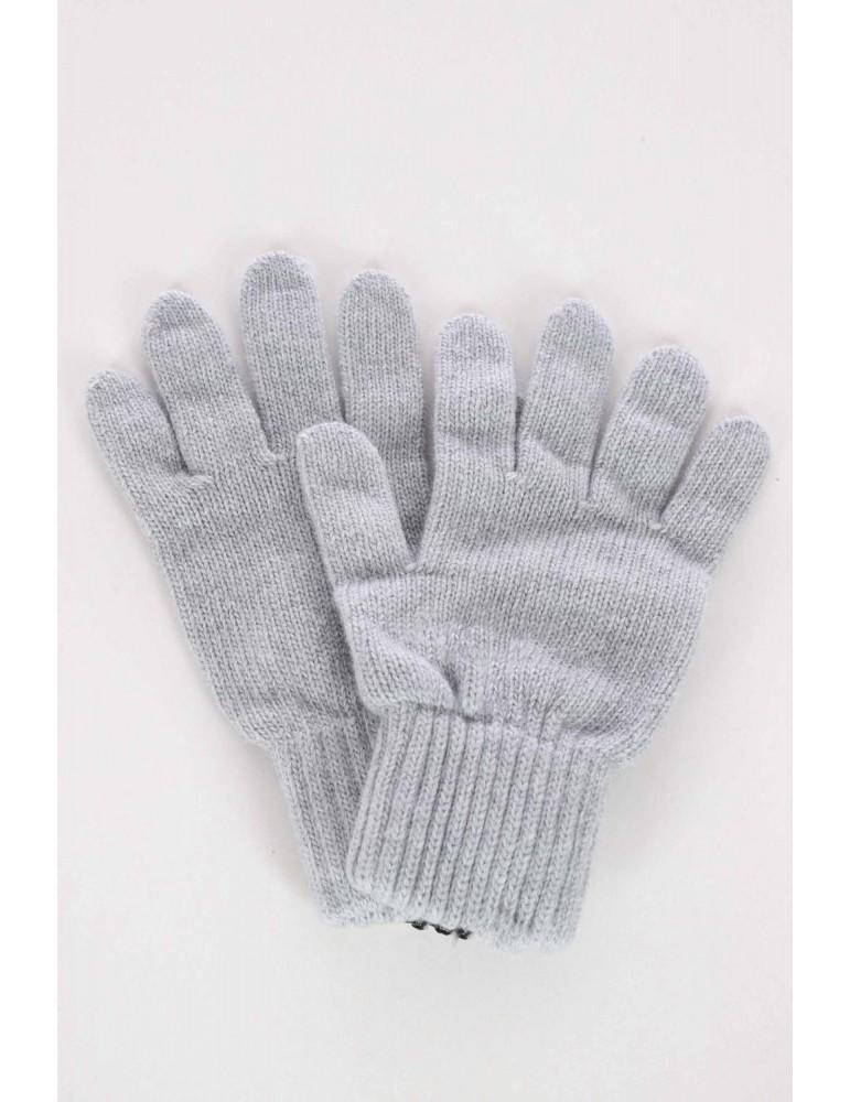 Zwillingsherz Handschuhe Fingerhandschuhe Classic hellgrau grau uni mit Kaschmir