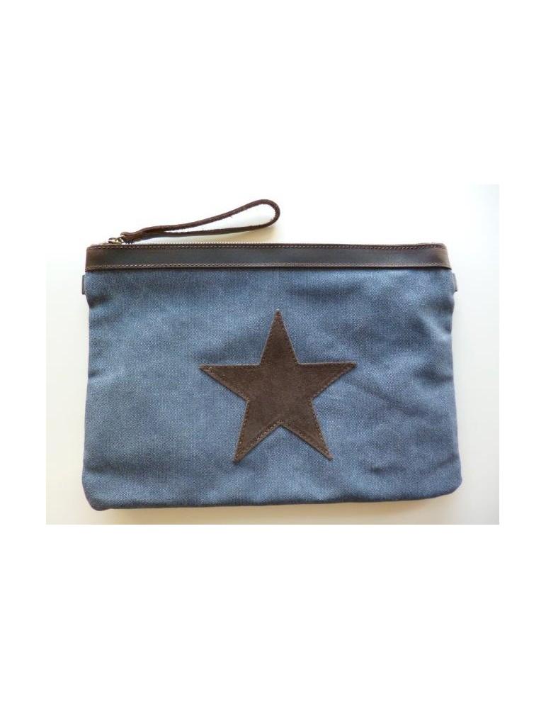 Clutch Schultertasche Tasche jeansblau braun Stern Canvas Echt Leder große Form