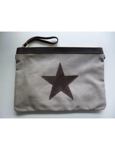 Clutch Schultertasche Tasche sand- beige braun Stern Canvas Echt Leder große Form