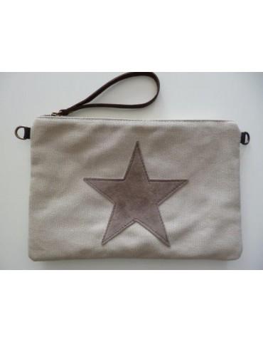 Clutch Schultertasche Geld Tasche hellbeige beige Stern Canvas Echt Leder