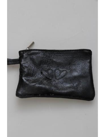 Zwillingsherz Kosmetiktäschchen Portemonnaie Börse schwarz black metallic echtes Leder
