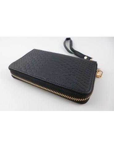 Giuliano Portemonnaie Geldbörse Börse schwarz passende Tasche Kroko Look