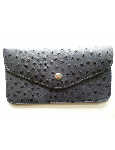 Portemonaie Clutch grau blau Strauß Look echtes Leder Made in Italy