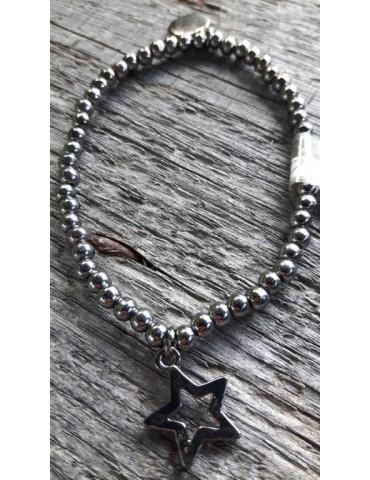 Armband Metall Perlen groß anthrazit grau klein Glitzer Schimmer elastisch Stern
